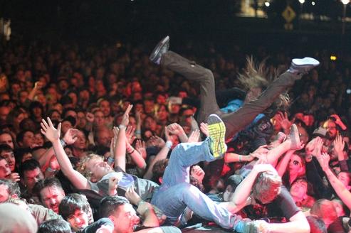 Crowd surfing during Descendents set at Fun Fun Fun Fest.