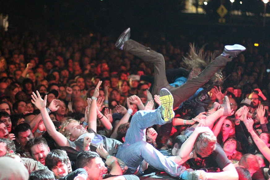 Crowd surfing during Descendents set at Fun Fun Fun Fest.