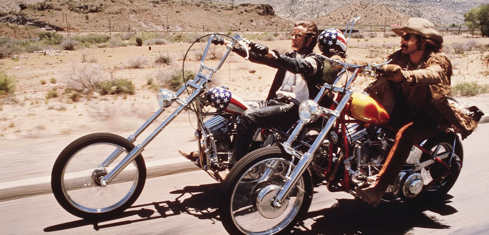 Dennis Hopper and Peter Fonda on motorcycles in Easy Rider movie