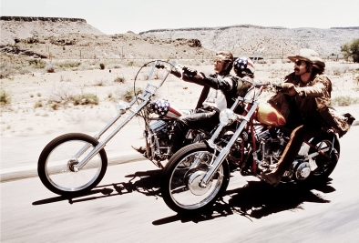 Dennis Hopper, Peter Fonda, and Jack Nicholson on motorcycles