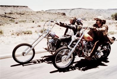 Dennis Hopper, Peter Fonda, and Jack Nicholson on motorcycles