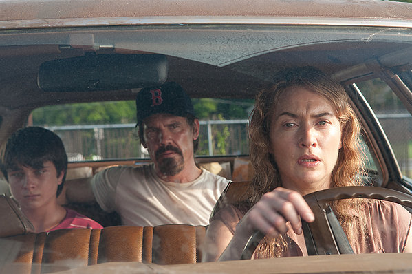 Kate Winslet, Josh Brolin, and Gattlin Griffith on set of Labor Day