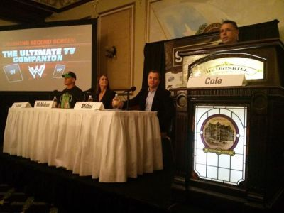 (Left to Right) John Cena, Stephanie McMahon, Perkins Miller and Michael Cole