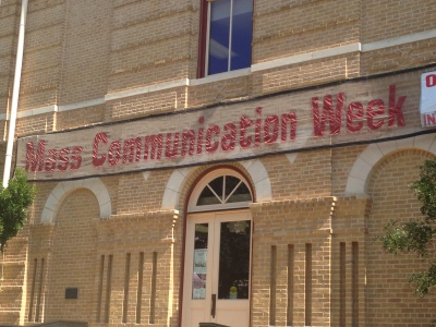 Texas State's Mass Comm Week Banner.
