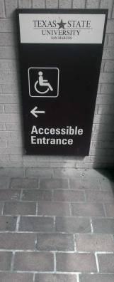 A Texas State wheelchair accessible entrance.