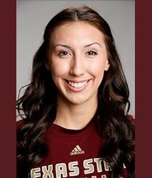 Amanda Watkins, #4 mid blocker for Texas State Volleyball.