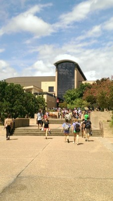 Students near the Texas State LBJ Student Center