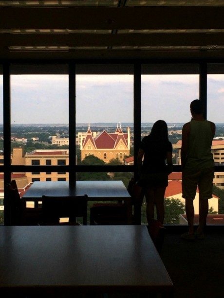 Old Main view from Alkek Library. Photo by Daryan Jones