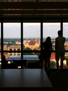 View of Old Main from the Alkek library. Photo by Daryan Jones