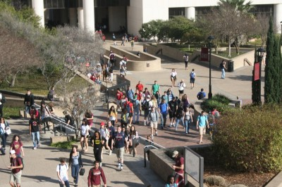 Birds-eye view of students near the LBJ student center. Photo by Nathalie Cohetero