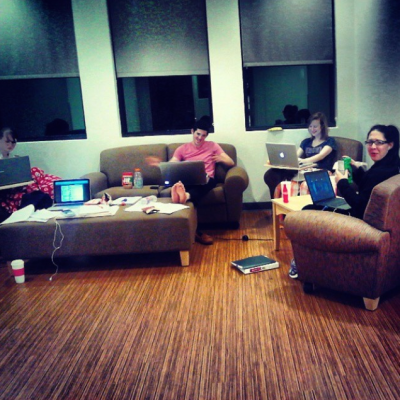 Friends gathered in the common area at Gaillardia!. Photo by Kalie Souknary