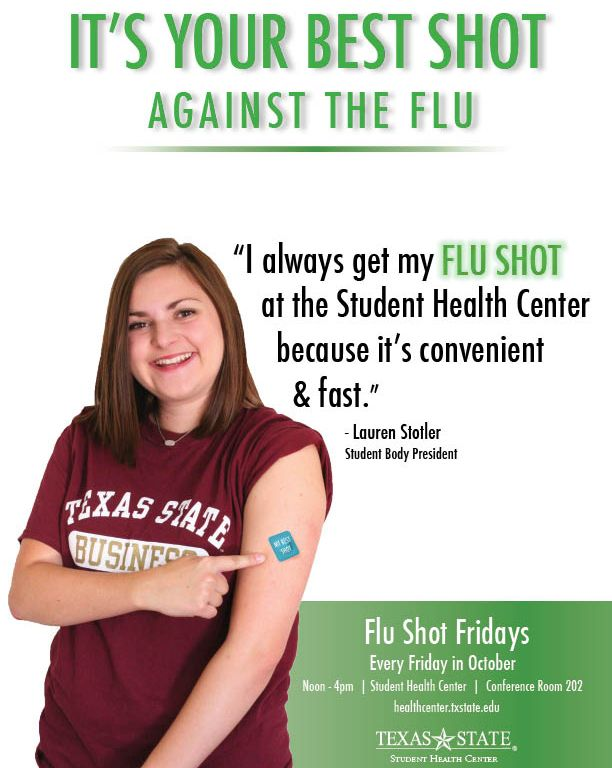 flu shot at the student health center