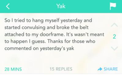 Yik Yak post describing a suicide attempt.