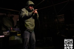 Rap Royalty: Big Mic spittin' fire on stage proving why he was crowned rap battle champion. Photo by Laura Valencia.