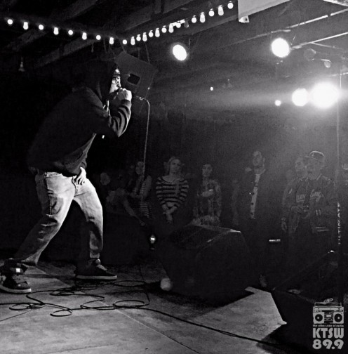 Brain, of Austin's own Subkulture Patriots, gave a high-energy performance for the hometown. Photo by Alexx Ward.