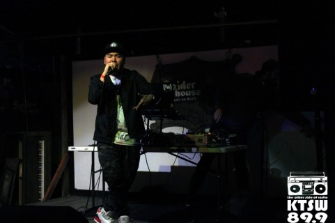 Fresh Start: C.I.G kicks the night off with his performance on Chapel stage. Photo by Laura Valencia.