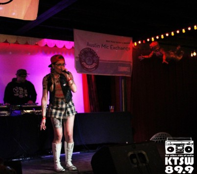 Boo Bonic Plague: KB the Boo Bonic spreading her infectious rhymes throughout the Spiderhouse Ballroom. Photo by Laura Valencia.