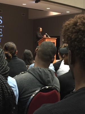 Opal Tometi from Black Lives Matter speaks at Texas State. Photo by Asia Daggs.
