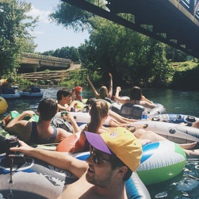 Texas State students float the river. Photo by Janelle Abad.
