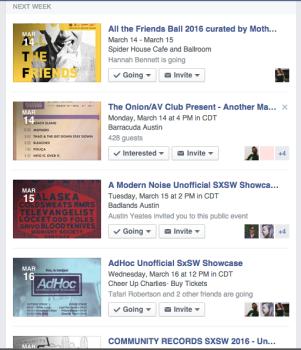 SXSW Facebook Events