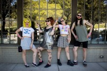 Tacocat before their first set at SXSW. Photo by Janelle Abad.