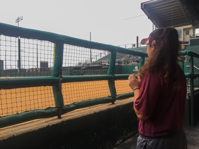 Kendall Wiley looks out at Bobcat Ballpark. Photo by Brooke Adams.