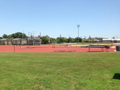 Texas State track field. Photo by Holly Henrichsen.