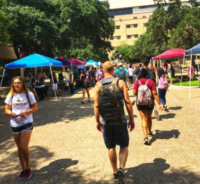 Many student organizations will try and recruit new members on the Quad. Photo by Amanda Hill.