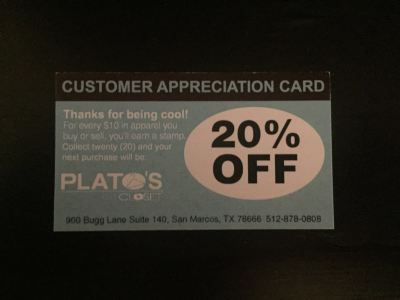 When you sell clothes at Plato's Closet, you can get a customer appreciation card for 20% off a purchase. Photo by Maria Martinez.