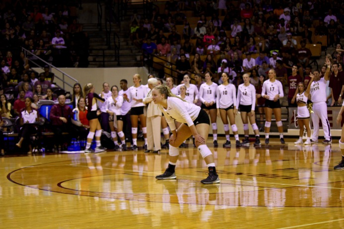 Megan Porter looks on for the upcoming serve. Photo by Alex Gifford.