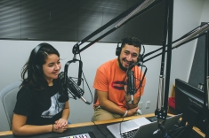'Belen Ramos and John Gonzales interacting with their viewers of the live-stream during a commercial break.