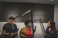 The hosts for Music Talks (6:00 pm-7:00 pm), DeMarcus Cobb, Natalia Glenn, and Ezlyh Gutierrez, discuss compelling music topics such as Spotify's Election 2016 playlist.