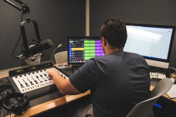 Each DJ and producer such as Adam Byerly is responsible to make sure the on-air shows go over smoothly for the full 24 hours of College Radio Day.