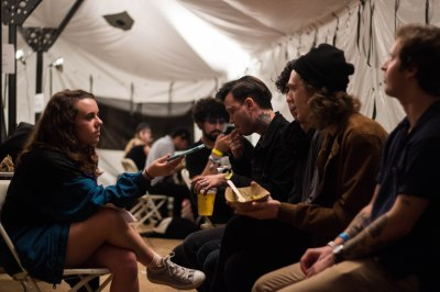 Brooke Adams interviewing the Frights at Sound on Sound Fest. Photo by Tafari Robertson.