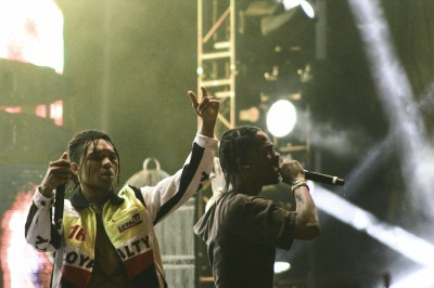"Travis Scott invites Rae Sremmurd on stage to perform ""Swang"" at Mala Luna Fest. Photo by Kendra Sells"