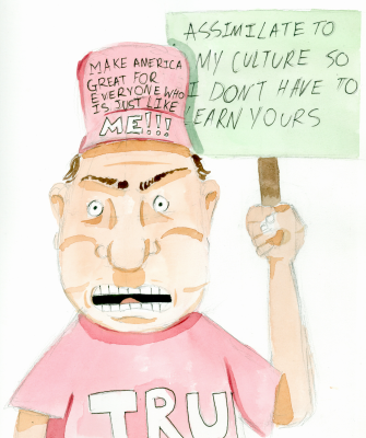"""Some think it is """"un-American"""" to speak a language other than English. Illustration by Joseph Bonney."""