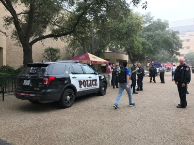 Texas State police and Chief Jose Bañales connect with faculty and students to create a strong bond with the community. Photo by Allison Randel.