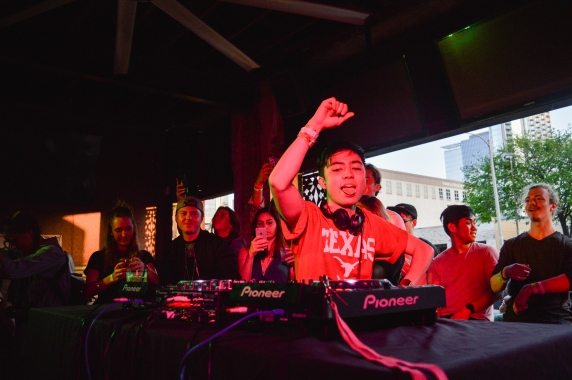 Manila Killa feeling the bass drop during his set at The Brew Exchange.