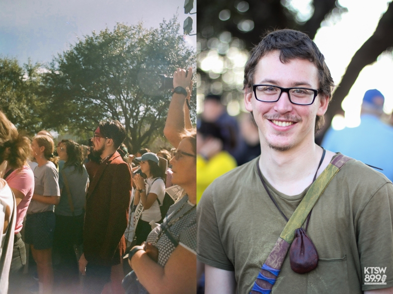 An ally with his face painted like Bowie's (left). Patrick Hall, my friend (right). (left: Women's March; 35mm Film) (right: One Resistance; Digital)