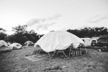 The same man that made the radio box made this dome where he sleeps and hangs with bands from the festival.