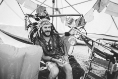 The man with the radio and dome. We had a chat with him about his dome, the time he attended Burning Man and why he had the idea of streaming live from his campsite.