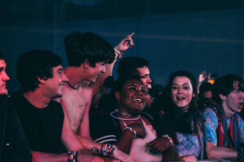 The crowd is all smiles during Illenium's set on December 29, 2017.