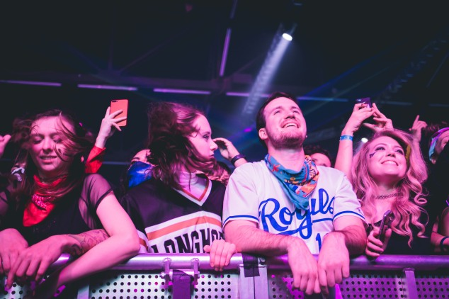 The crowd in the front row always brings strong energy as they head bang to the DJs' sets.