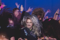 The crowd headbangs in the front row during NGHTMRE's performance on December 30, 2017.