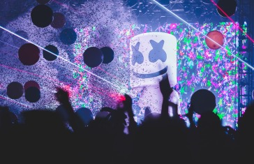 Marshmello ends his set with a confetti explosion as Lights All Night comes to a close at two a.m. on December 30, 2017.