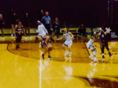 TXST Women defending ULM; Featured Photo by Parker Rhea