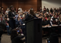 A senator responds to a student speaking at the Student Government Public Forum held on Feb. 5 to allow testimony from students on the impeachment of student body president Connor Clegg.
