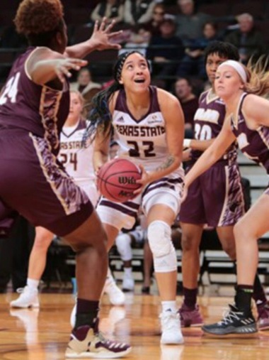 Ti'Aira Pitts had a career day for the shorthanded Bobcats; Photo Credited to Texas State Athletics
