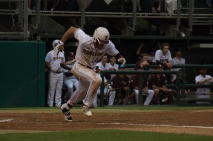 Luke Sherley reached base safely for the 13th straight game; Photo Credited to Marina Bustillo