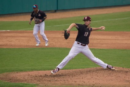 Brandon Lewis gutted out 4 innings in his midweek start against the Aggies; Photo Credited to Nicole Wolf